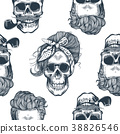 Seamless pattern in pop art style with skeleton 38826546