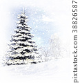 Christmas, tree, after, a, snow, storm, blizzard 38826587