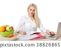dietician making a diet of fruits and vegetables 38826865