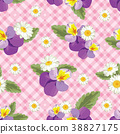 Floral seamless pattern. Pansies with chamomiles 38827175