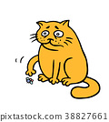 Orange fat cat is lonely. Vector Illustration. 38827661