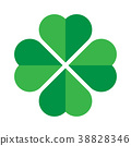 Shamrock - green four leaf clover icon. Good luck 38828346