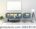 mock up poster frame in interior room , 3D render 38828538