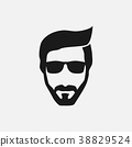 Bearded hipster face black silhouette. Vector 38829524