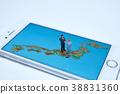 微型玩偶和日本的地圖 38831360