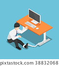 Isometric businessman chained to the desk. 38832068