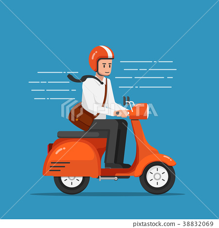Businessman riding motorcycle or scooter to work. 38832069