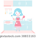 แม่บ้านกำลังเตรียมอาหารในครัว 38833163