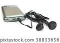 Black Earphone and Smartphone set isolated  38833656