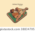 grilled chicken on wood tray. Hand draw vector. 38834705