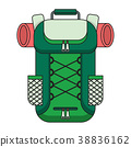 tourist backpack color outline icon 38836162