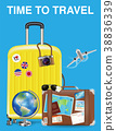 time to travel with bag and world travel object 38836339