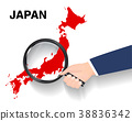 hand use magnifying glass searching on  japan map 38836342