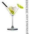 Mojito cocktail in martini glass isolated on white 38836969