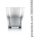 Empty old fashioned cocktail glass on a white 38836980