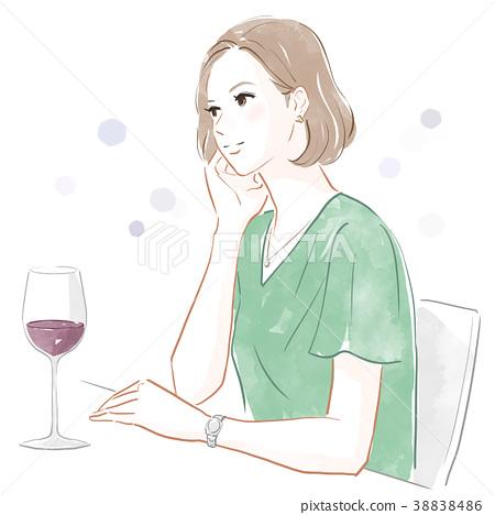 ผู้หญิงกำลังดื่มไวน์ 38838486