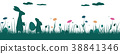 Field with two rabbits, Easter eggs and flowers 38841346