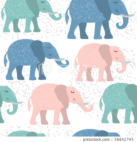 Childish seamless pattern with cute elephant 38842745