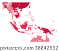 Map of Southeast Asia. Vector map in shades of 38842932