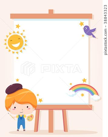 Kid Boy Paint Club Frame Background Illustration 38843323