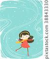 Kid Girl Ice Skate Background Illustration 38843330