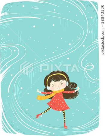 Kid Girl Ice Skate Background Illustration 38843330