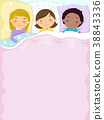 Kids Girls Sleep Over Bed Background Illustration 38843336