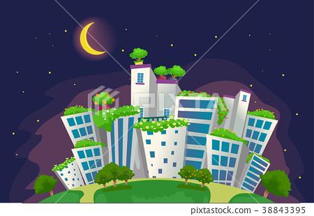 Eco City Night Scene Illustration 38843395