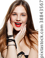 beautiful girl with red lips 38843567