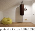 3d rendering of attic interior with boxing stuff 38843792