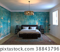 loft bedroom with old painted walls 38843796