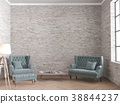 Loft living room with velvet sofa and old brick 38844237