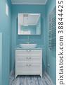 Mint color bathroom interior with mirror 38844425