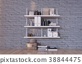 3d rendering of shelves on the brick wall 38844475