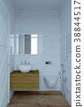 3d rendering of white bathroom interior 38844517