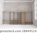 dressing room in loft interior with big window 38844524