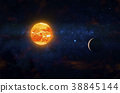 Two planets orbiting nearby red giant. Outer Space 38845144