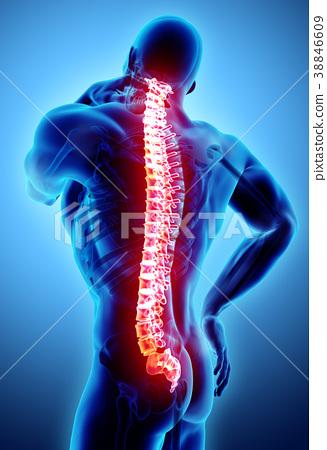 3D Illustration of sacral and cervical painful. 38846609