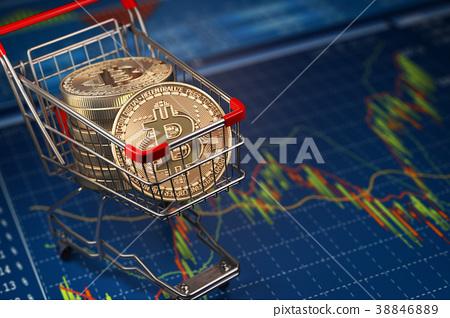 Bitcoin BTC coins in the shopping cart  38846889