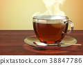 Cup of tea on the wooden table. 3D rendering 38847786