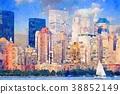 뉴욕 맨하탄의 수채화 38852149