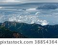 奥穂高岳에서 보는 구름 솟는 大天井岳의 능선 38854364