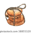 Stack of Chocolate chip cookies tied with rope 38855320