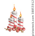 Three burning candle and red balls  38855912