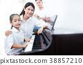 Parants and daughter playing music. 38857210