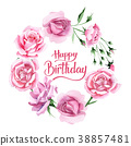 Wildflower pink tea rosa flower wreath in a 38857481