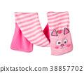 Children's striped muffler-kitten. 38857702