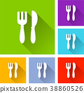 restaurant icons with long shadow 38860526