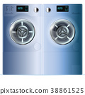 Double Washing Machine. Front View 38861525