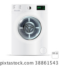 Washing machine on white isolated background. 3d 38861543